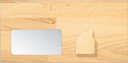 Briefhüllen für Holz-Handwerker. Motiv: Holzhaus.