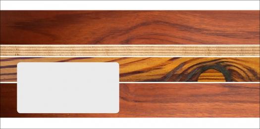Briefhüllen für Holz-Handwerker. Motiv: Edle Hölzer.